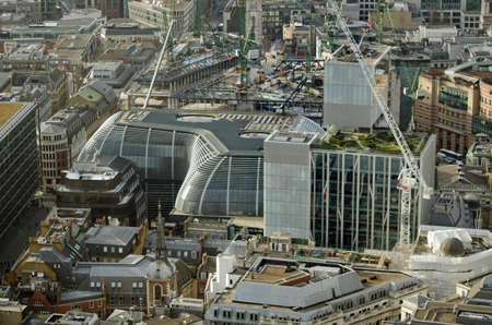 Aerial view of the new City of London office block The Walbrook.  Opposite Cannon Street Station and designed by Foster and Partners the building is a curvy shape. Stock Photo