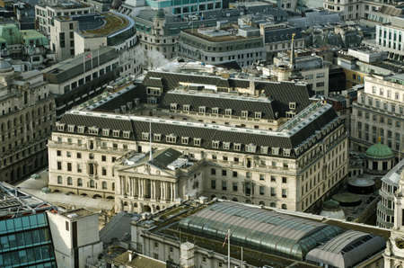 View from above of the Bank of England.  The central bank of the UK manages the sterling currency and regulates financial transactions.  The historic building is in the centre of the City of London.