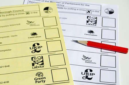 BASINGSTOKE UK  MAY 3 2015:  Local and Westminster election ballot papers with pencil.