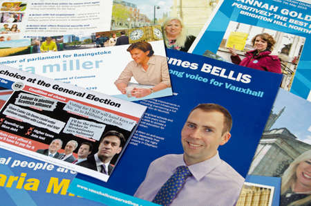 conservatives: BASINGSTOKE UK  MAY 3 2015:  Campaign leaflets from Conservative Party Candidates across the UK hoping to be elected in the General and local elections in May 2015.