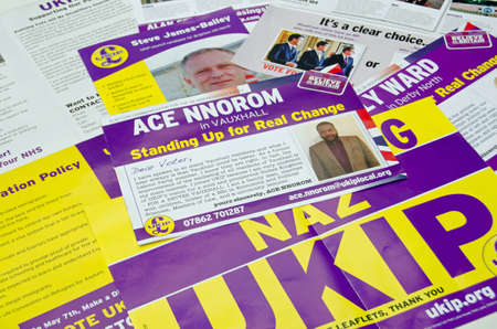 local election: BASINGSTOKE UK  MAY 3 2015:  Campaign leaflets from UKIP candidates across the UK given to voters in various constituencies across the country.
