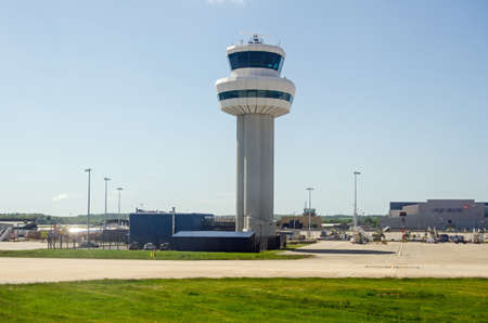 control tower: GATWICK AIRPORT UK  MAY 16 2015:  The main control tower at Londons Gatwick Airport in West Sussex. Editorial