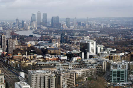 View from a tall building in the City of London looking towards the Isle off Dogs and the Canary Wharf development of financial offices.