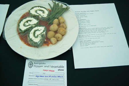 typically english: BASINGSTOKE UK  JULY 7 2007:  Winning entry in the vegetarian cookery class at the Basingstoke Flower and Vegetable show.  On display in a marquee set up in the Hampshire town for the annual competition. Editorial