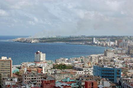 metropolis image: Aerial view looking East across Havana Bay, Cuba on a sunny afternoon in November 2005. Stock Photo
