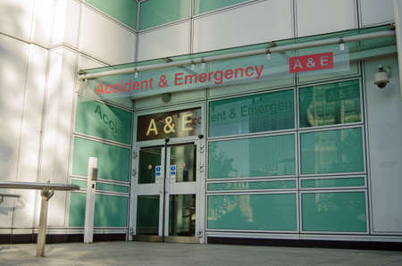 Pedestrian entrance to the Accident and Emergency Unit at University College Hospital as viewed from the pavement on the Euston Road. Editorial