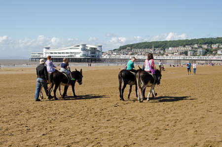 donkey: WESTON-SUPER-MARE, UK - AUGUST 26, 2015:  Children enjoying a slow ride along the sandy beach at Weston-Super-Mare, Somerset.  The Grand Pier is in the distance of the traditional seaside resort on a sunny day in August.