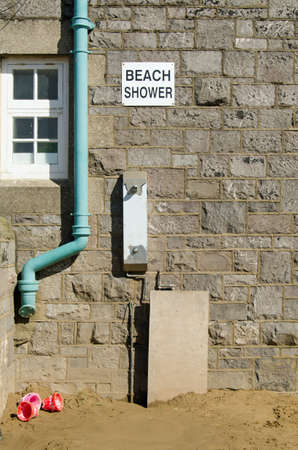 unattractive: A rather unattractive and basic shower available to holidaymakers at the sandy beach in the traditional seaside resort of Weston-Super-Mare, Somerset.