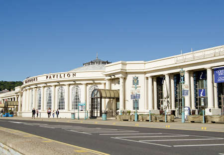 typically british: WESTON-SUPER-MARE, UK - AUGUST 26, 2015:  The landmark Winter Gardens Pavilion on the seafront of the traditional seaside resort of Weston-Super-Mare in Somerset. Editorial