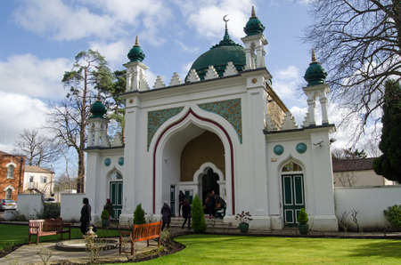 jehan: WOKING, UK - FEBRUARY 7, 2015:  Visitors at the oldest purpose built mosque in the UK- the Shah Jehan Mosque in Woking, Surrey.  Part of the Visit My Mosque day organised by the Muslim Council of Britain.