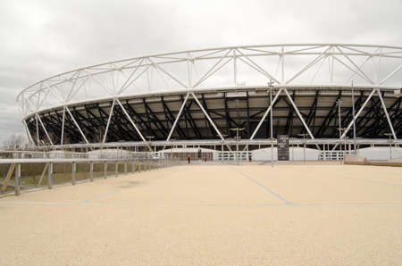 stratford: LONDON, UK - MARCH 19, 2016:  The former Olympic stadium now converted for the use of West Ham United football club in Queen Elizabeth Park, Stratford.