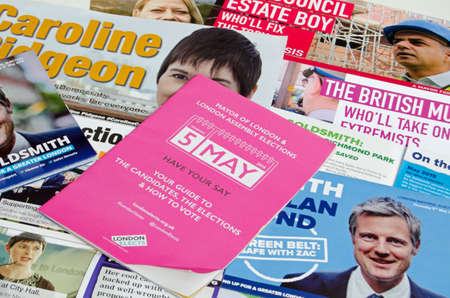mayoral: LONDON, UK - MAY 1, 2016:  Election leaflets publicising candidates for the Mayor of London election on Thursday 5th May 2016.  Candidates include Sadique Khan, Zac Goldsmith, Caroline Pidgeon and Sian Berry.