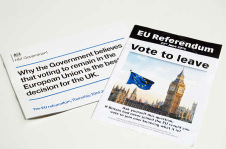 LONDON, UK - May 1, 2016: Leaflets promoting the leave and remain sides of the EU Referendum campaign. The vote is due to take place on June 23rd 2016.