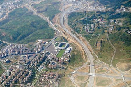 fatih: Aerial view of the western suburbs of Istanbul and the Ba�?ak�?ehir Fatih Terim Stadium, home to the Super League team İstanbul Ba�?ak�?ehir F.K.