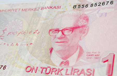 mathematician: Famous mathematician Professor Dr Cahit Arf on a ten Lira banknote in circulation in Turkey.  He is famous for work leading to knot theory and surgery theory.  Used banknote, photographed at an angle.