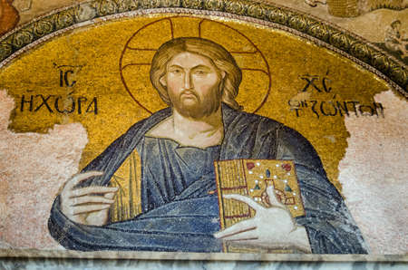 pantocrator: Historic Medieval Byzantine mosaic showing Christ Pantocrator. Chora Church, Istanbul. Editorial