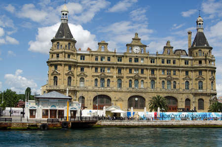 haydarpasa: ISTANBUL, TURKEY - JUNE 8, 2016: The historic  passenger terminal at Haydarpasa port near Kadikoy on the Asian side of the Bosphorus, Istanbul.  Viewed from a ferry on a sunny summer afternoon, Turkey.