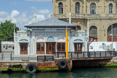 ISTANBUL, TURKEY - JUNE 8, 2016:  Ornate landing stage to the historic Haydarpasa Dock on the Asian side of the Bosphorus in Istanbul, Turkey. Editorial