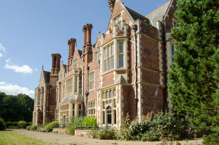 Detail of the South facing elevation of Aldermaston Manor, Berkshire.  The historic stately home, which was extensively rebuilt in the Victorian era,  dates from Stuart times and is now empty, awaiting redevelopment.