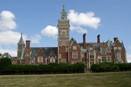 West elevation of the historic stately home - Aldermaston Manor, also known as Aldermaston Court in Aldermaston, Berkshire.  Originally built in Stuart times, the building has changed over the centuries and was extensively rebuilt in Victorian times.  It