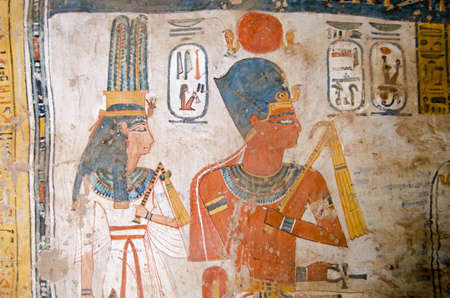 Ancient Egyptian Wall Painting Of The Pharaoh Amenhotep III And ...