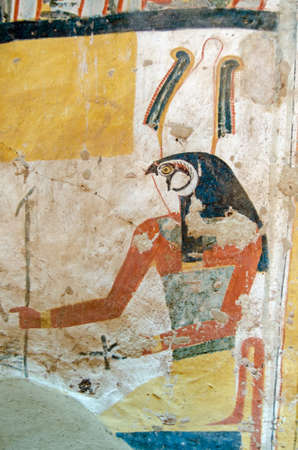 Ancient Egyptian wall painting of the falcon headed god Horus.  Inner wall of the Tomb of Amenemonet, priest of Ptah-Sokar from the Ramesside Period, Thebes, Luxor, Egypt.  Thousands of years old.