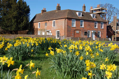 authors: View of the historic home of the novelist Jane Austen in the village of Chawton in Hampshire.  The author wrote some of her famous books while living in this quiet village near Alton.