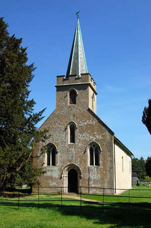 vicar: View of the historic church  of St Nicholas in Steventon, Hampshire where Jane Austens father was vicar when she was a little girl.  The Austen family lived a short walk away in a Rectory which has been lost to fire. Stock Photo