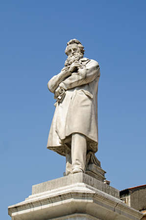 lexicographer: Statue of the great Italian linguist and lexicographer Nicolo Tommaseo erected in the historic Campo Santo Stefano in Venice, Italy. Stock Photo
