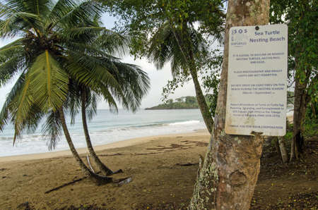 STONEHAVEN, TRINIDAD AND TOBAGO:  JANUARY 6, 2018:  Sign at Stonehaven Bay on the Caribbean Island of Tobago warning that the beach is one of the few nesting sites of the endangered leatherback turtles.  Viewed from public road. Editorial