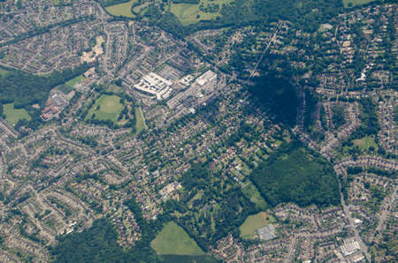 Aerial view of the Princess Royal University Hospital in the London Borough of Bromley.  An NHS hospital, it was originally called the Farnborough Infirmary and was most recently redeveloped in 2003.