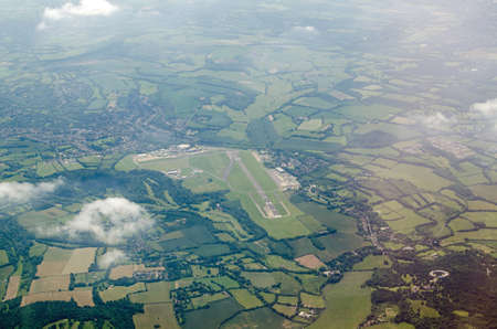 Aerial view of Biggin Hill Airport on the outskirts of the London Borough of Bromley.  During World War II, it was one of the Royal Air Forces main fighter stations and played an important role during the Battle of Britain. Stock Photo