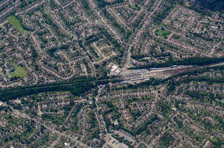 Aerial view of the mainline railway station at Orpington in the London Borough of Bromley.  The  suburban town is popular with commuters and is within easy reach of central London despite being surrounded by lovely countryside. Stock Photo