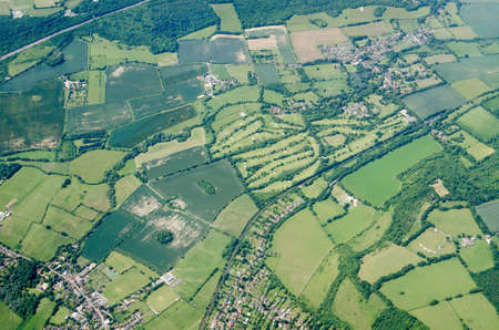 Aerial view of the Kent villages of Otford and Shoreham with the Darenth Valley Country Club and golf course in between.  Viewed on a sunny summer day.