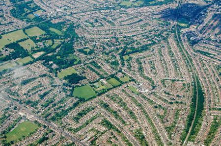 Aerial view of the south London suburb of Worcester Park in the Borough of Sutton.  A mainly residential area, there are many streets of houses.