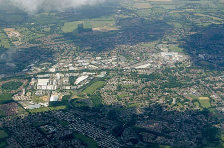 Aerial view of the Berkshire town of Bracknell complete with office blocks, shopping centre and housing estates.