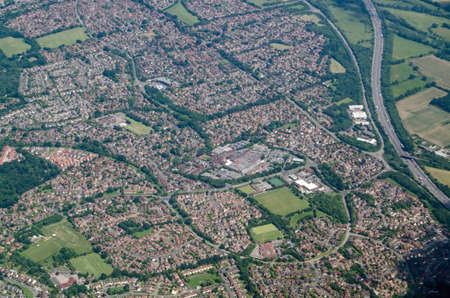 Aerial view of the housing estates of Lower Earley in Reading, Berkshire. Mostly built in recent decades, the housing provides homes for workers both in the town of Reading and further afield. Stock Photo