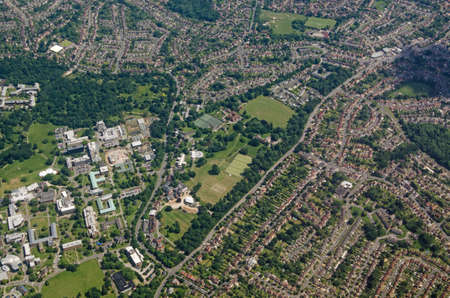 Aerial view of the University of Reading, Whiteknight Campus in the southern part of the town in Berkshire.  Viewed on a sunny summer day.