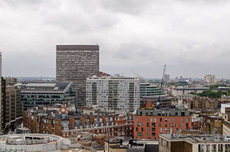 Office and apartment blocks in the Victoria district of London.  Tallest is Portland House, home to many companies and in front a block of flats now known as The View.