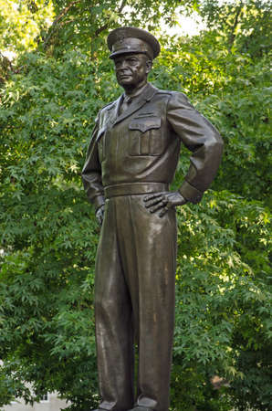 Statue of President and General Dwight D. Eisenhower in Grosvenor Square, Mayfair, London.  On public display since 1989.