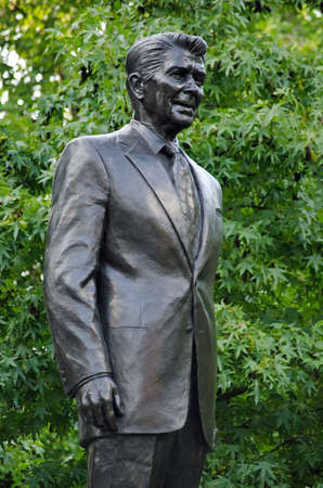 Memorial statue of President Ronald Reagan in Grosvenor Square, Mayfair, London.  Created by American sculptor Chas Fagan it has been on public display since 2011. Editorial