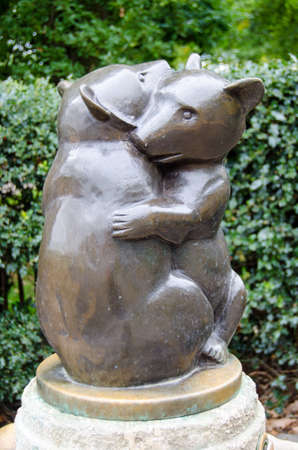 The very cute two bears drinking water fountain in Hyde Park, London.  The pair have been hugging on public display since 1939.