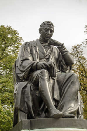 Monument statue of the vaccine pioneer Edward Jenner who developed the innoculation against smallpox.  Sculpted by William Calder Marshall and on public display in Londons Hyde Park since 1862.