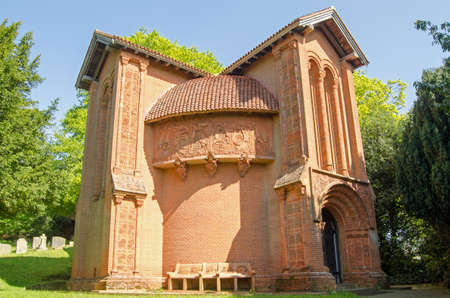 Exterior of the historic Watts Chapel in Compton, Surrey. A magnificent example of the Arts and Crafts movement of Victorian times there are hand made terracotta tiles decorating the exterior of the building which is on public display.