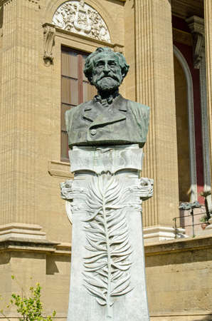 Monument to the great Italian classical composer Verdi outside the Teatro Massimo opera house in Palermo, Sicily. Editorial