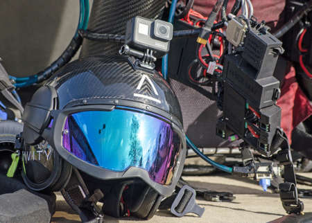 BASINGSTOKE, UK - MARCH 11, 2019: Specialist helmet branded for Gravity Industries to be worn by a pilot to use with an individual jet pack which will allow them to fly above the ground. Standard-Bild - 119635985