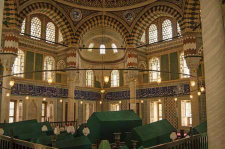Istanbul, Turkey - June 6, 2016: Interior of the magnificent tomb of Sultan Selim II built in 1577 and decorated with Iznik tiles and other ornamentation. Old city of Istanbul, Turkey. Editorial