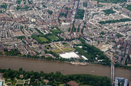 Aerial view looking north across Chelsea with the white marquees for the annual Flower Show at the Royal Hospital and Home.