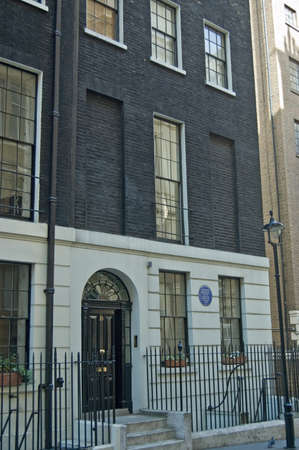 London, UK - April 9, 2011: The author Herman Melville lived in this Westminster townhouse in 1849.