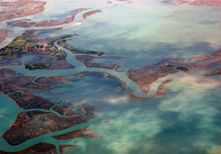 The island of Torcello in the northern part of the Venice Lagoon. Viewed from the air.